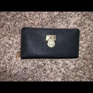 Michael Kors Black and Gold Locket Wallet